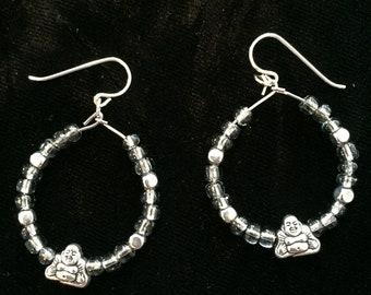 Silver, Beaded, Buddha Earrings