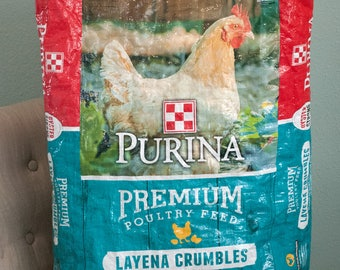 Upcycled Feed Bag - Chicken Feed Bag Tote - Grocery Bag - Reusable Shopping Bag - Market Tote - Purina Chicken Feed Bag - Beach Bag