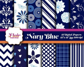 80% OFF NAVY BLUE Digital Paper Pack, Floral Pattern, Chevron, Stripes, Hearts, Damask, Scrapbooking, Backgrounds, Invitations, Supplies