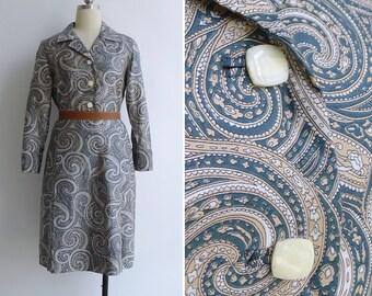 Vintage 70's Teal Paisley Print Cotton Sateen Shirt Dress S or M