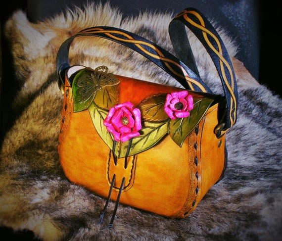 Customized leather handbag, fantasy purse, embossing leather, with molded leather roses, knotwork on the strap