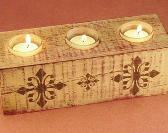 Wood 3 Tea Light Long Candle Holder Antique Crosses
