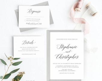 Modern Romance Wedding Invitation Suite, Wedding Invitation Printable, Invitation Set,Wedding Invitation PDF Letter or A4 (Item code: P470)