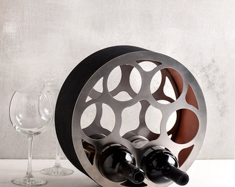 Modern wine rack wheel / stainless steel wine bottle holder