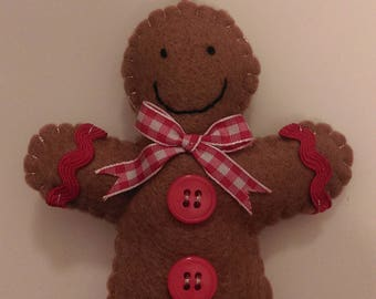 Gingerbread Man Felt Christmas Tree Decoration