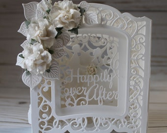 Wedding Card, OOAK Handmade Wedding Card, Happily Ever After Wedding Card