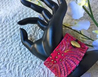 """Wrist cuff 7"""", fiber art bracelet, art to wear, textile art wrist cuff, fiber jewelry, Fiber Art, Cuff bracelet, OOAK, Wearable art#47"""