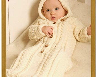 SALE**** PDF Knitting Pattern for Babies Aran Style Sleeping Bag or Cocoon/Papoose/Sleep Sack