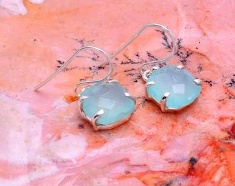Blue Chalcedony Earrings, 925 Silver Dangle Earrings Jewelry