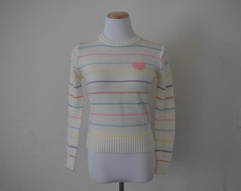 FREE usa SHIPPING Vintage 70s women's knit striped pullover sweater/ hipster/ acrylic/ retro/size S
