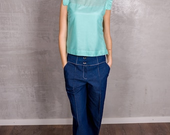 Mint Silky Blouse. Free shipping.