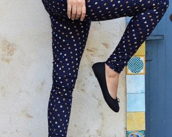 Blue Tights, Womens Tights, Printed Tights, Cotton Tights, Leggings, Womens Leggings, Printed Leggings, Yoga Leggings, Yoga Tights