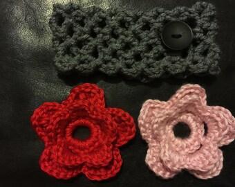 Headband; crochet headband; flower headband; flowers; toddler headband; gift for her