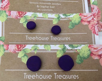 Handmade purple clay earrings (A variety of sizes)