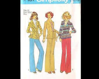 1975 Simplicity Misses Unlined Jacket and Pants Pattern 7137 - Vintage Sewing Pattern - UNCUT - Women Miss Size 10 - Fashion DIY - Clothes