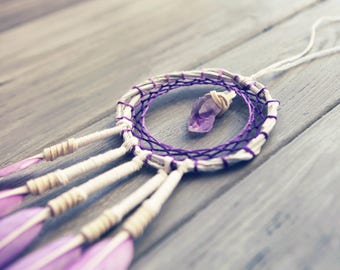 Purple Dream Catcher Crystal Amethyst Decor Pastel Dream Catcher Small Dreamcatcher Boho Decor Car Accessories For Women Vehicle Accessory