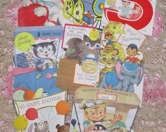 Vintage Greeting Card Lot-Ephemera-Mixed Media-Paper-Crafts-Scrap Booking-Baby-Childrens-Set of 8