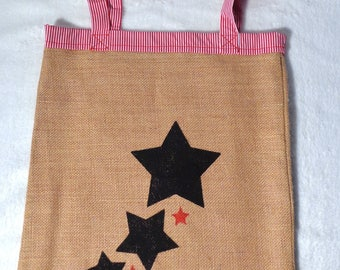 Bag of beach in Burlap with handles and cotton lining