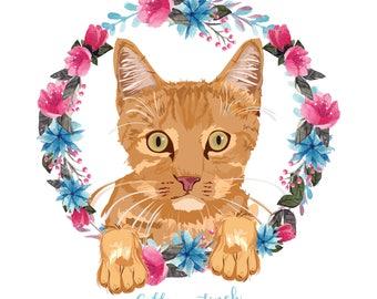 Illustrated Pet Portrait, Cat Portrait, Pet Memorial Portrait, Cat Lover, Unique, Gift For Her, Gift For Him, Custom Christmas Gift, DIGITAL