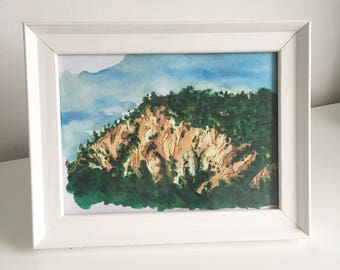 Watercolour mountain painting print