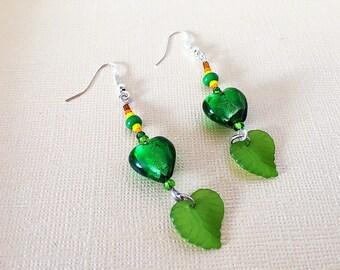 Green Leaf Earrings, Glass Earrings, Green Glass Earrings, Heart Earrings, Nature Inspired Earrings, Glass Heart Earrings, Leaf Earrings
