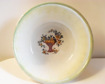 Green-Rimmed Serving Bowl with Basket of Oranges and Orange Blossoms-Homer Laughlin