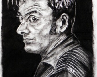 portrait drawing, Dr. who 10th doctor, David Tennant.
