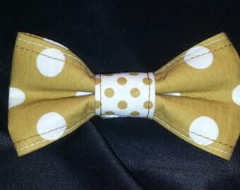 Tan Poka dot Bow tie