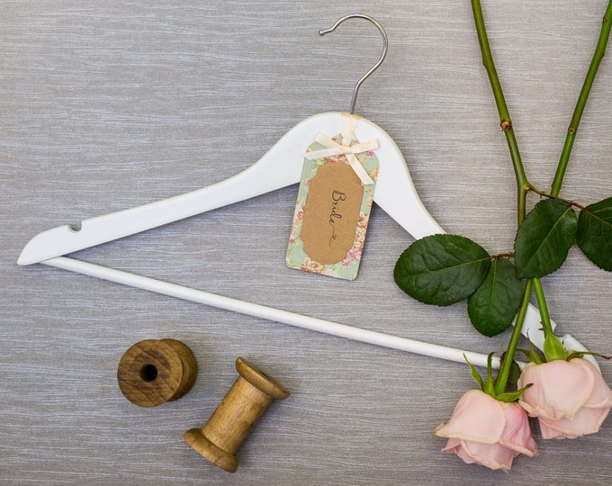 Wedding Hanger with Personalised Vintage Rose Linen Paper Label
