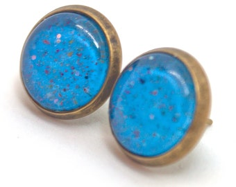 Sounds Like Rain - bright blue with tiny multichrome flakie glitter gold stud earrings