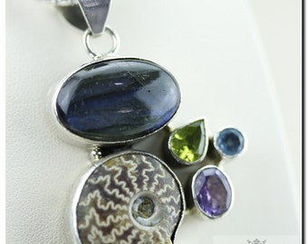 Stunning Pattern Excellent Grade AMMONITE Labradorite Amethyst 925 SOLID Sterling Silver Pendant + 4mm  Chain & FREE Worldwide Shipping P63
