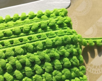 "APPLE GREEN Baby Pom Pom Trim - Sewing Crafting Baby Poms Poms - Mini Fringe - 3/8"" Wide"