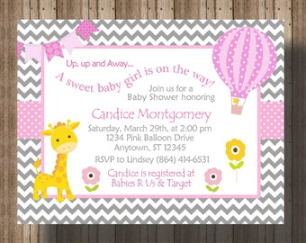 BABY SHOWER INVITATION Chevron Pink and Gray/Giraffe Baby Shower Invitation/ Hot Air Balloon Baby Shower/ Baby Girl/Giraffe Shower
