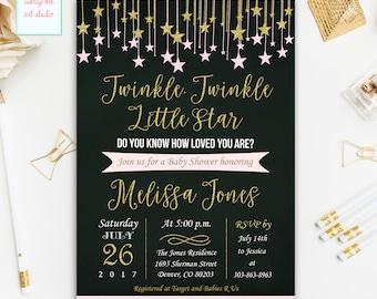 Twinkle Twinkle Little Star Baby Shower Invitation, Pink and Gold Baby Shower Invitations, Printable Little Star Baby Shower Invites