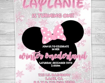 893: DIY - Minnie Winter ONEderland Party Invitation Or Thank You Card