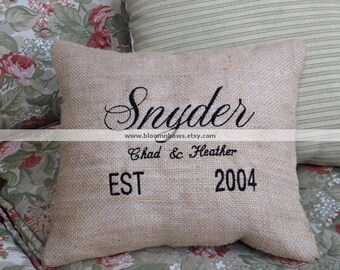 Custom Embroidered Wedding or Anniversary Pillow