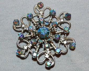Large Rhinestone Brooch, Aurora Borealis Silver, Vintage old jewelry