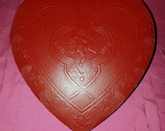 A Sweet Treat Vintage Red Valentine Heart Candy Embossed Churub