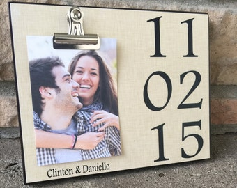 Personalized Picture Frame, Names and Date, Wedding Gift, Anniversary Gift, Housewarming Gift, 8x10 Photo Board With Photo Clip Display