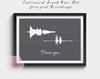 Personalised Sound Wave Art Personalized Soundwave from your recordings Valentines Day Present, birthday, wedding,