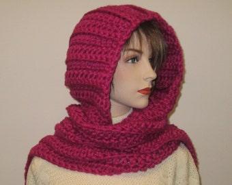 Pink Hoodie Scarf, Long Winter Scarves, Pink Chunky Scarf, Long Scarf, Long Fall Scarves, Knit Scoodie Scarves, Elizabeth B3-040