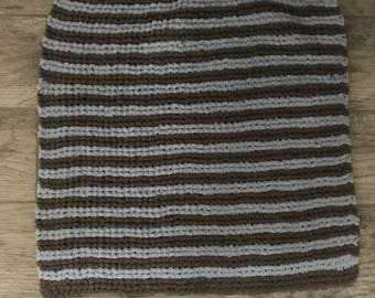 Striped soft baby blanket for car seat and stroller, multiple colors, multiple sizes