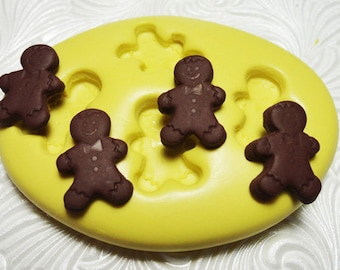GINGERBREAD MEN Man Mold Silicone Rubber Push Mold for Resin Wax Fondant Clay Fimo Ice 377M