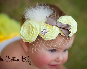 Yellow Rose Rosette Flower Rhinestone Marbou French Veil Vintage Bow Headband Newborn Infant Toddler Big Girl Headband