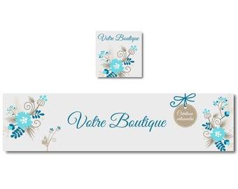 Banner custom banner, Etsy Shop banner, blue turquoise flower