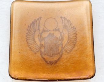 Iridised scarab dish