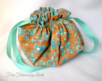 Jewelry Bag Organizer, 16 Inside Pouches, Small Plus Size, Double Pockets, Cotton Fabric, Flower Pattern Pouch, Aqua and Copper
