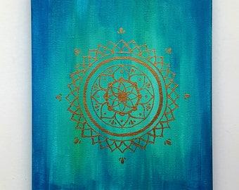 Blue Gold Star Mandala Acrylic Painting - 8x10