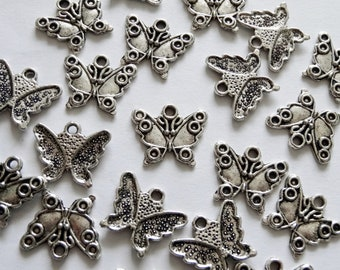 10 Silver Butterfly Metal Charms 15x17mm