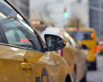New York City cab photography, New York street art, yellow cab wall picture Manhattan taxi cars, columbus circle nyc print, NY modern decor